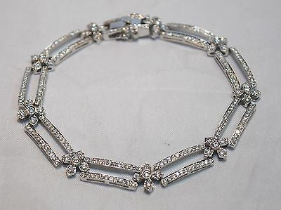 Contemporary 2.5 Carat Diamond Double Row Flower Statement Bracelet in 14K White Gold - $20K VALUE