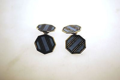 Vintage Krementz & Co. Designer Sterling Silver and Enamel Cuff Links - $1K VALUE