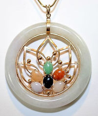 1960s Vintage Nephrite & Multi-Colored Jade Circle Pendant in Yellow Gold - $10K VALUE