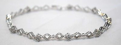 Contemporary Geometric Diamond Tennis Bracelet in Solid 14K White Gold - $6K VALUE