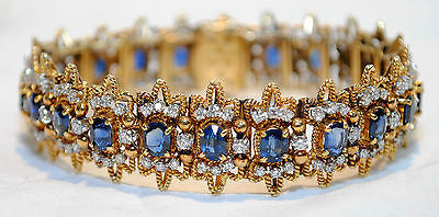 1960s Vintage JG Jewelry Sapphire & Diamond Bracelet in 18K Yellow Gold & Platinum - $45K VALUE