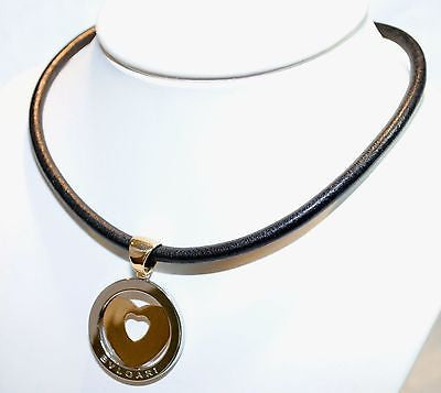 Genuine Bvlgari 18K Yellow Gold & Steel Heart Pendant with Original Cord - $3K VALUE