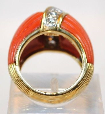1970s Vintage Van Cleef & Arpels Carved Red Coral & Diamond Ring in 18K Yellow Gold UGL Certified - $35K VALUE