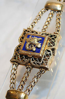 1930s Vintage Negin Covered Watch Bracelet in 14K Yellow Gold with Blue Enamel - $40K VALUE