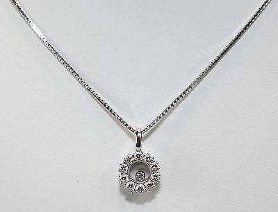 Contemporary Chopard Round Happy Diamond Pendant in 18K White Gold - $12K VALUE
