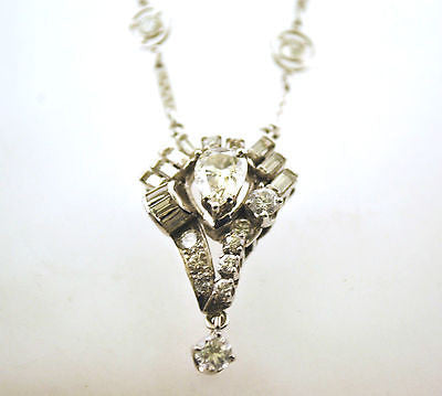 Vintage Art Deco Style 6 Carat Diamond Pendant with Necklace in 18K White Gold - $50K VALUE