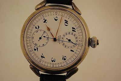 Seeland Extra Large Pocket Watch Style Wristwatch in Sterling Silver with Stopwatch - $20K VALUE