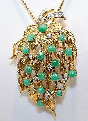 1950s Vintage Emerald & Diamond Floral Leaf Spray Brooch/Pendant in 18K Yellow Gold - $20K VALUE