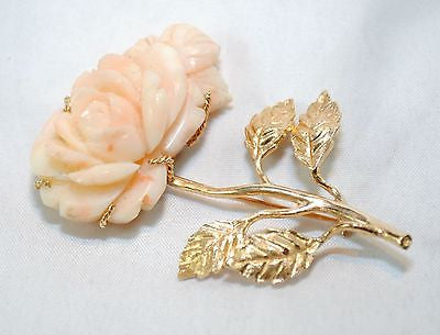 1940s Vintage Carved Pink Coral Rose Brooch in Solid Yellow Gold - $5K VALUE