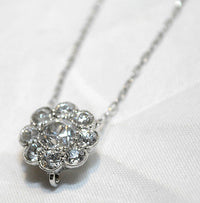 1940s Vintage 1.50 Carat Diamond Cluster Pendant Necklace in Solid 14K White Gold - $15K VALUE