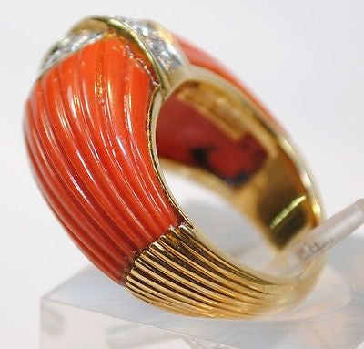 VAN CLEEF & ARPELS Vintage 1970s Carved Red Coral & Diamond Ring in 18K Yellow Gold - $35K VALUE, UGL Certified!
