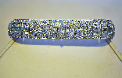 1920s Exquisite Art Deco 11.5 Carat Diamond & Emerald Link Bracelet in 18K White Gold - $50K VALUE