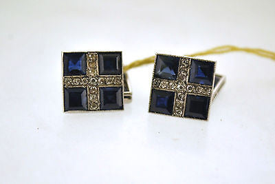 Contemporary 6.25 Carat Sapphire & Diamond Square Cuff Links in 18K White Gold - $8K VALUE