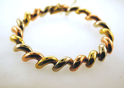 Contemporary Solid 14K Yellow, Rose, & White Gold Classic Tri Color Twist Link Bracelet - $8K VALUE