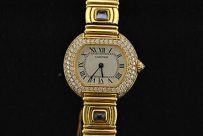 Cartier Three Row Diamond Lady's Watch in 18K Yellow Gold with Amethyst Gemstones - $100K VALUE