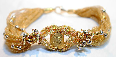 1970's Vintage 18K Gold Mesh & Bead Bracelet - $10K VALUE