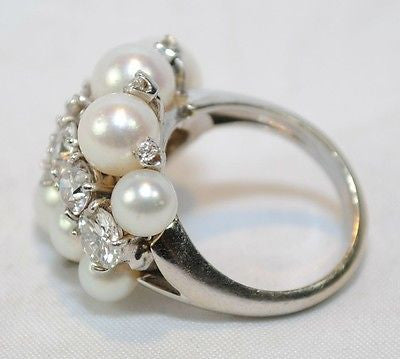1930s Vintage 2.5 Carat Diamond & Pearl Cluster Ring in Solid 14K White Gold - $30K VALUE