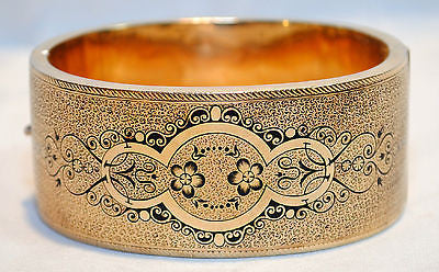 1940's Vintage Edwardian/Art Nouveau Style Enameled Bangle Bracelet in 18K Yellow Gold - $15K VALUE