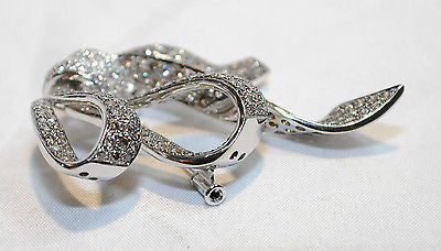 Edwardian-Style 6 Carat Champagne & White Diamond Bow Brooch in 18K White Gold - $40K COA!! }