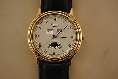 Chopard Automatic Lvna D'Oro Men's Wristwatch in 18K Yellow Gold with Triple Annual Calendar & Moon Phase - $50K VALUE