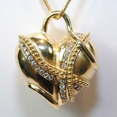 "Contemporary Diamond ""Wrapped"" Heart Pendant in 18K Yellow Gold - $20K VALUE"
