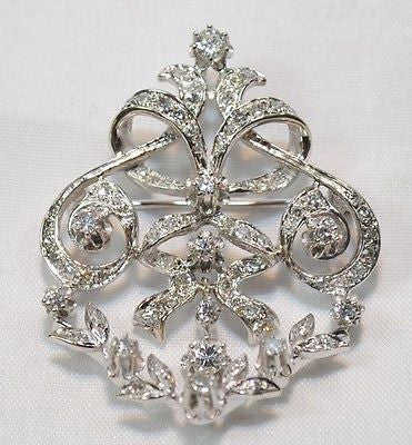 Victorian Style 2 Carat Diamond Brooch/Pendant in 14K White Gold - $10K VALUE