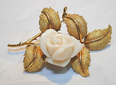 1940s Vintage White Coral Rose Brooch in 18K Yellow Gold - $10K VALUE