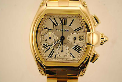 Cartier Roadster Chronograph-Full Automatic Wristwatch in 18K Yellow Gold with Silver Dial - $60K VALUE