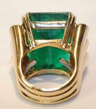 Contemporary David Webb 40 Carat Emerald & Diamond Ring in 18K Yellow and White Gold with UGL Certificate - $305K VALUE