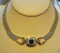 Contemporary Sapphire & Diamond Link Necklace in 14K Yellow Gold - $30K VALUE