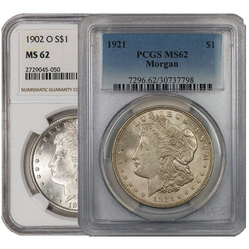 Morgan Silver Dollar Coin MS62 (1878-1904, PCGS or NGC)