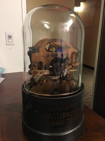 Edison Ticker Tape Machine Org. Glass/Base C1900s Mint Cond. w/ COA $100K Apr.