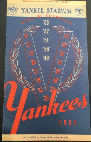 Original 1954 New York Yankee vs. Baltimore Orioles Official Program and Score Card - $600 VALUE