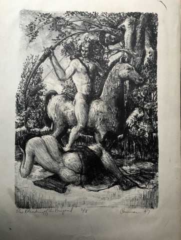 "Rare 1947 Charcoal Print of ""The Blinding of the Brigand"" by Albert K. Pounian - $3K VALUE"