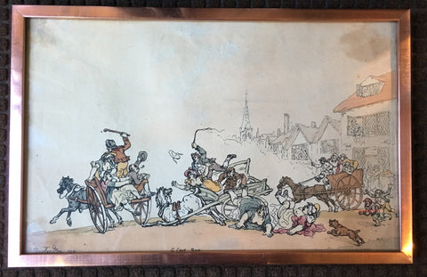 "Original 1788 Thomas Rowlandson Print ""A Cart Race"" - $20K VALUE"