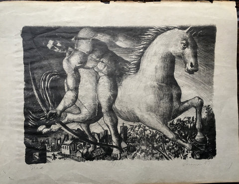 "Rare 1947 Charcoal Print of ""Jlid"" by Albert K. Pounian - $3K VALUE"