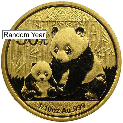 1/10 oz Chinese Gold Panda Coin (Random Year, Unsealed)