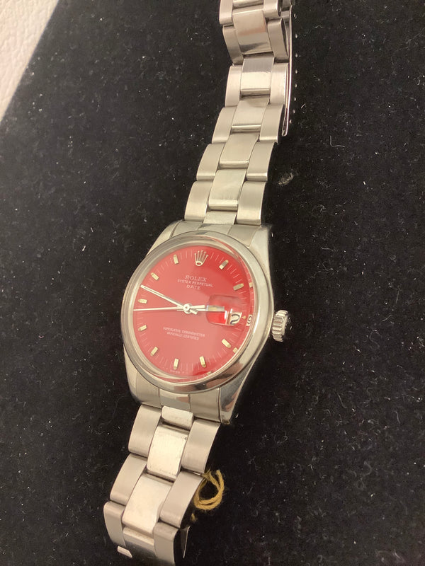 Rolex Mens Circa 1970's Vintage Perpetual Oyster Date in Stainless Steel Rare Fire Red Dial Box with COA $13K APR!
