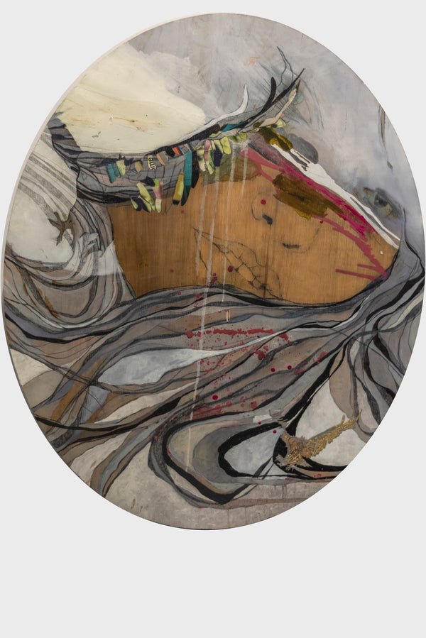 "Gina Magid,""Oval Face with Two Birds"",Mixed Media on Wood,2005,w/COA, APR $12K!+"