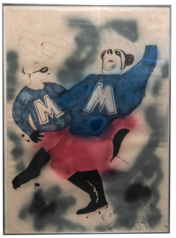 Jeffery F.Beardsall, 'Blue Meenies,' Signed Mixed Media on Paper, c. 1970s - $10K Appraisal Value!+*