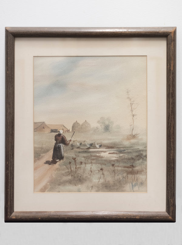 Woman in a Landscape, Signed Watercolor on Paper, Framed, 1898 - w/CoA & $4K APR Value+