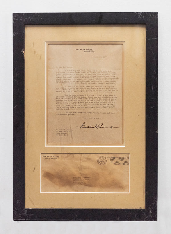 FDR Signed Letter. NY Chapter Baseball Writers of America.1937 -w/CoA- $300K APR Value!+