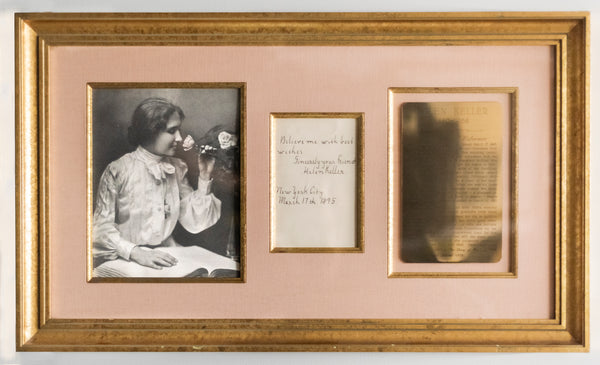 Helen Keller Handwritten Letter to Mentor w/Portrait. 1895 -w/CoA- $20K APR Value!+