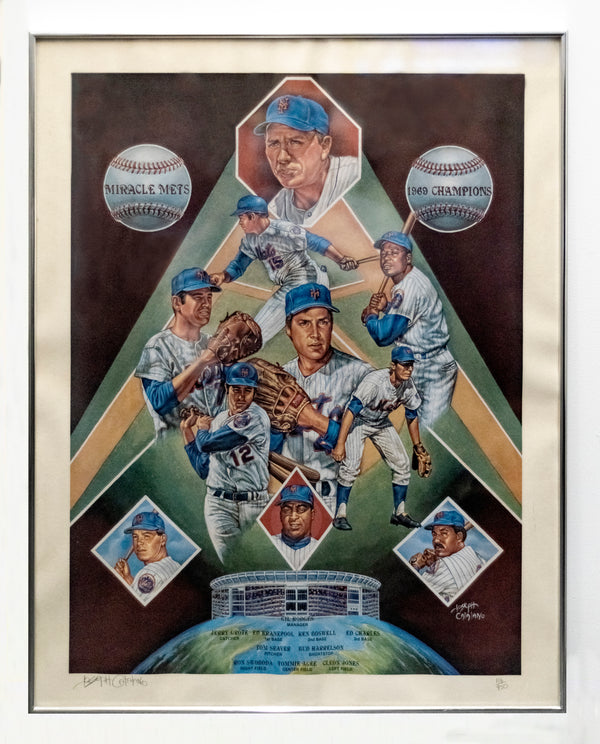 Joseph Catalano NY Mets lithograph.ltd edition 116/950. C.1969. w/COA & $1K APR Value!+