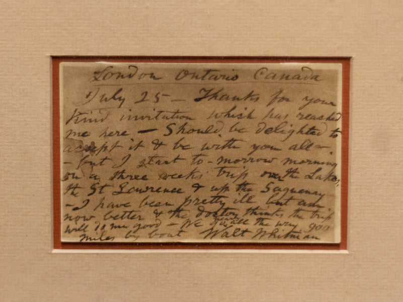 Walt Whitman, Rare Handwritten Postcard to F.B Sanborn & Photograph. C.1880S -w/CoA- & $60K APR Value!+