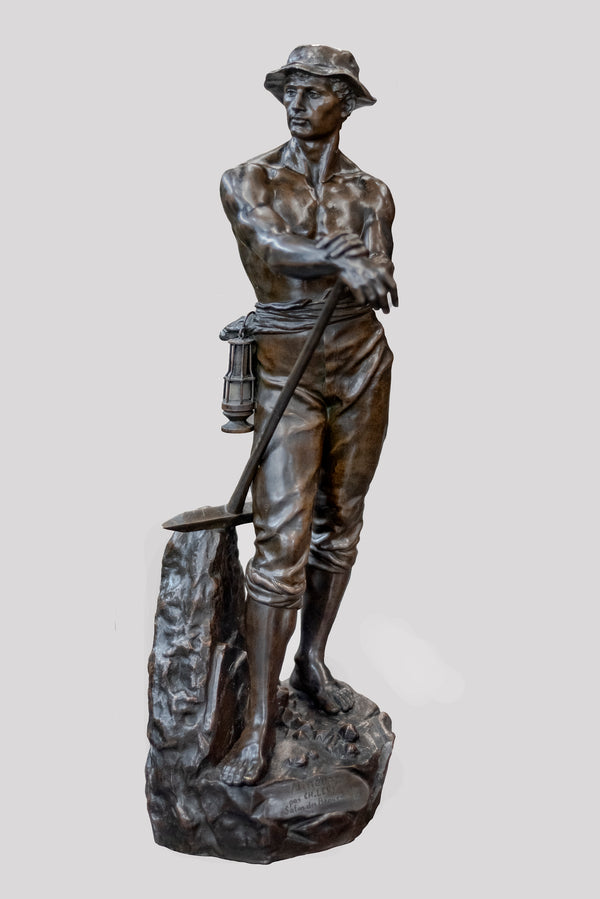 Charles-Octave Levy, 'Mineur (Miner),' 19th Century Bronze Sculpture -CoA- & $15K APR!+*
