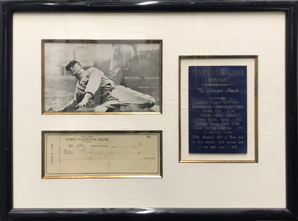 TY COBB Autographed Check with Photo and Plaque, 1948 - $6K Appraisal Value!