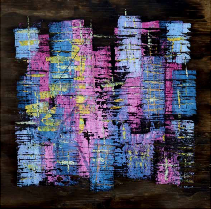 Rodolfo Cué, 'Ciudad Abstracta II (Abstract City II),' Oil on Smoked Wood, 2018 - Appraisal Value: $5K