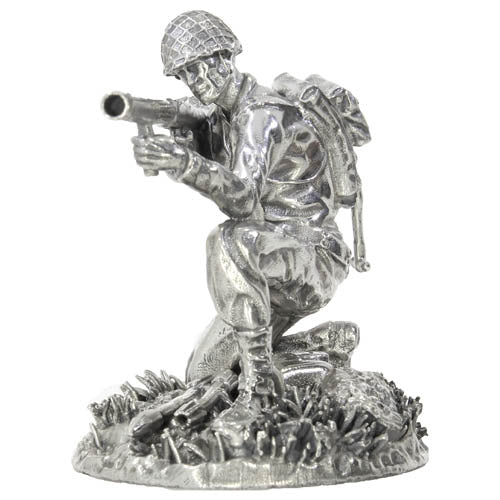 5 oz Antique Finish Silver Soldiers Collection Stovepipe Sterling Statue (New, Box + CoA)