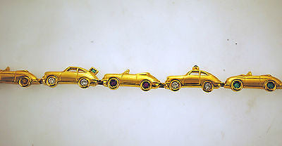 Contemporary 18K Yellow Gold Motor Car Link Bracelet with 3.25 Carat Diamonds & Precious Stones -  $20K VALUE